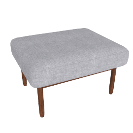 Raleigh Ottoman , Frame -Walnut, Fabric -Pebble Weave: Fog