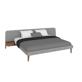 Parallel Wide Cal. King Bed in Fabric, Walnut