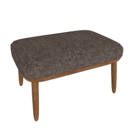 Crosshatch Ottoman, Walnut Frame, Capri, Trench
