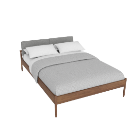 Raleigh Full Bed, Ducale Wool Light Grey Walnut Frame