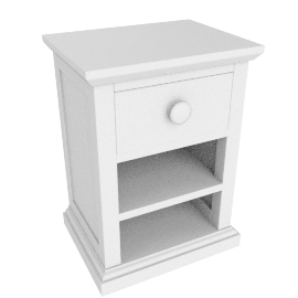 Hickory Bedside Table, White