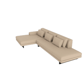 Lecco Open Sectional with Chaise, Kalahari Leather - Chiaro with Black Base