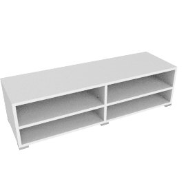 Match Low Wide Shelf Unit, White