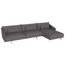 Costura Sectional with Chaise, Stone, Linen Weave