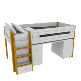 Curve Mid-Sleeper and Desk 4 Doors, White
