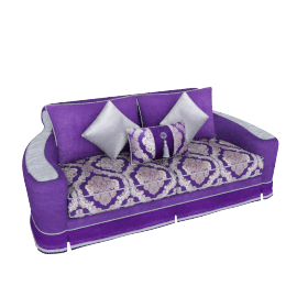Newton 3 Seater, Purple and Grey