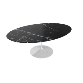 Saarinen Low Oval Coffee Table - Coated Marble 1 - White.Nero