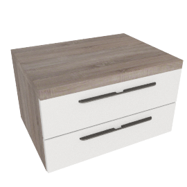 Dublin nightstand, HG White/ Grey Oak