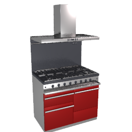 Westahl WG1053GECTCHAPK1 Dual Fuel Cooker, Hood and Splashback Package, Chinese Red