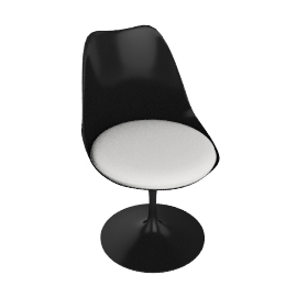 Saarinen Tulip Armless Chair - Vinyl - Black.White