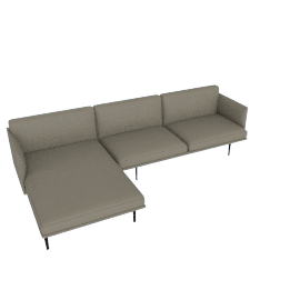 Outline Sectional with Left Facing Chaise, Shadow Leather