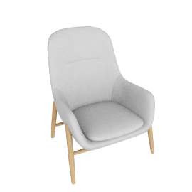 Nora Lounge Chair, Meld - Grate with Oak