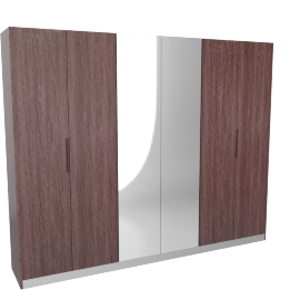 Caroline 6Dr Wardrobe-D.Maple/Silver