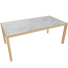 Doubleframe Table 70 x 36, Carrara/Oak