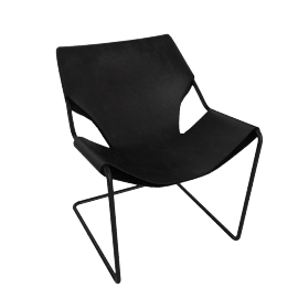 Paulistano Armchair in Leather, Black Frame, Matte Black