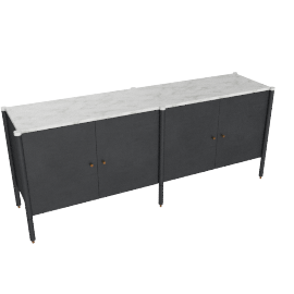 Morrison Credenza, Ebonized Black with Carrara