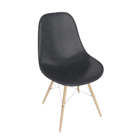 Eames Molded Fiberglass Dowel-Leg Side Chair (DFSW), Elephant Hide Grey with Black Base and Maple Leg