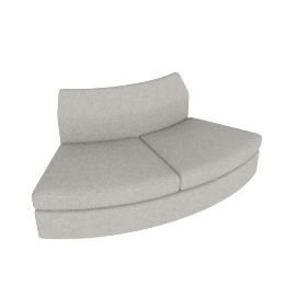 Bevel Sofa Group Outside Curve Settee, Noble Fabric Heathered Grey with Ebony Leg