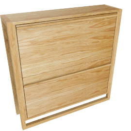 Low Shoe Storage Cabinet, Oak