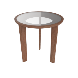 Port Side Table, Glass Top Walnut Base