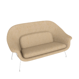 Womb Settee, Boucle Flax with Chrome Leg