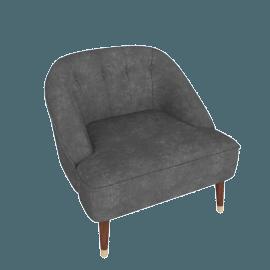 Margot Accent Chair, Pewter Grey Velvet