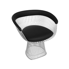 Platner Armchair, Nickel frame and Volo Leather - Black