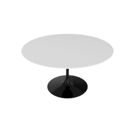 Saarinen Round Dining Table 54'', Laminate - Black.White