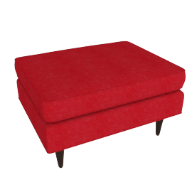Bantam Chair Ottoman in Basket Fabric - Crimson.Walnut
