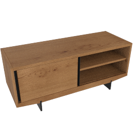 Ringo media unit, dark stain oak