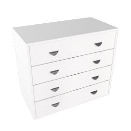 Stompa Uno Plus 4 Drawer Chest, White