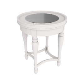 Orland Round End Table, White