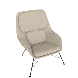 Striad Chair, Mid Back with Wire base, Tonus Oatmeal/White Shell with Black base