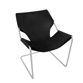 Paulistano Armchair in Leather, Stainless Steel Frame with Matte Black
