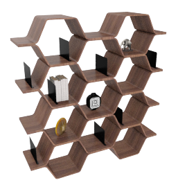 Polygon Shelving Unit, Walnut
