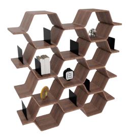 Polygon Shelving Unit, Walnut