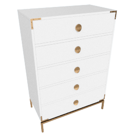 Melrose High Gloss 5-Drawer Chest of Drawers