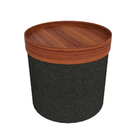 Drum Pouf, High - Antracite/Walnut Tray