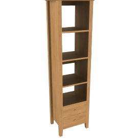 John Lewis Ellis Narrow Bookshelf with 2 DrawersLight Oak