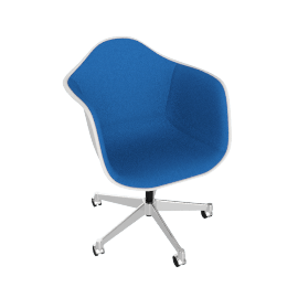 Eames Upholstered Task Chair, White with Hopsak Cobalt Blue