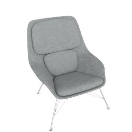 Striad Chair, Mid Back with Wire base, Noble Heathered Grey/White Shell with Chrome base