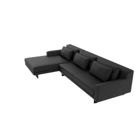 Lecco Sectional with Left Chaise, Black Kalahari Leather with Black Base