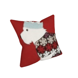 Westie Bauble Cushion, Red, 30x30cm