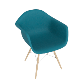Eames Molded Plastic Dowel-Leg Armchair (DAW), Peacock Blue with Chrome Base and Maple Leg