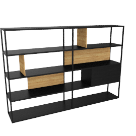 Kai Shelving Wide, Black/Oak