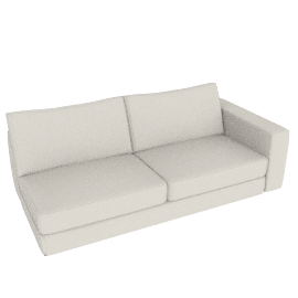 Reid One-Arm Sofa, Right in Leather, Powder