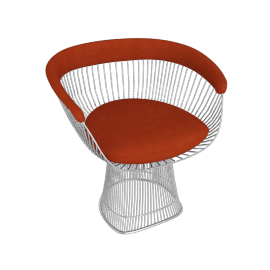 Platner Armchair, Nickel frame and Knoll Velvet - Tomato