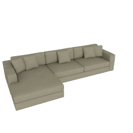 Reid Sectional Chaise Right in Fabric, Parchment