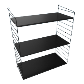 String Wall Shelving - 1 Bay - 24'', Black