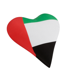 Uae Flag Heart Shape Filled Cushion - 40x40 cms